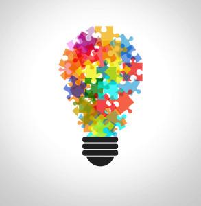 Puzzle in a lightbulb - Problem solving concept